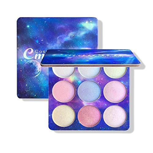 Highlighter illuminateur Poudre ROMANTIC BEAR 9 Couleurs Palette de Maquillage Highlighter Glow Kit Palette de poudres illuminatrices (A)