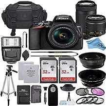 Nikon D3500 DSLR Camera with 24.2MP Sensor, NIKKOR AF-P 18-55mm VR & 70-300mm Dual Zoom Lens Kit, 2 Pack Sandisk 32GB Memory Card + A-Cell Accessory Bundle (32GB)