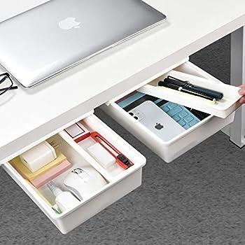 Under Desk Drawer[2Pack M+M] GGIANTGO Desk Drawer Set for Office/Bedroom/School/Kitchen Self-Adhesive Under Desk Storage for Phone/Pens/Pencils/Keys/Cutlery and More