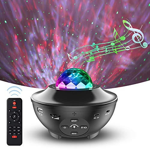 Loyewellr Galaxy Star Projector, Night Light Projector with Remote Control and Bluetooth Speaker, Sky Light for Babyroom/ Bedroom/ Gameroom/ Party, Wireless Control and Timer, DC Powered by USB