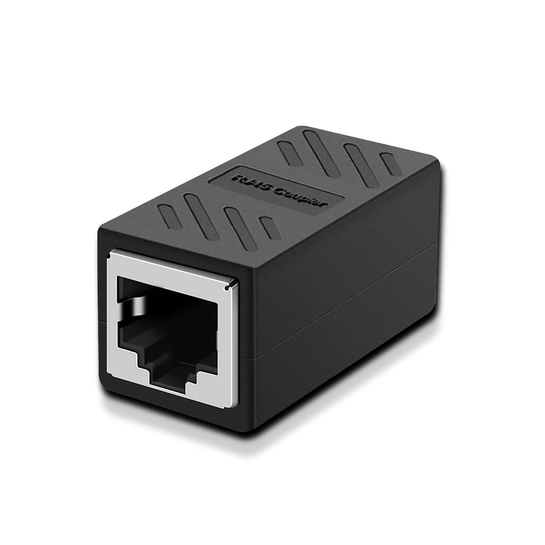 RJ45 Coupler Dingsun Female to Female Ethernet Coupler for Cat7/ Cat6/ Cat5/ Cat5e Network Cable RJ45 in Line Coupler Extender Adapter(Black 1 Pack)