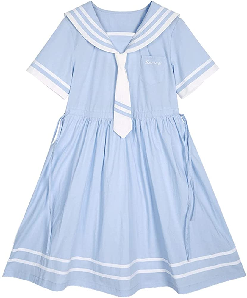Simple Short Sleeve Sailor Collar Cute One-Piece Dress Navy Style Casual Lolita Fashion