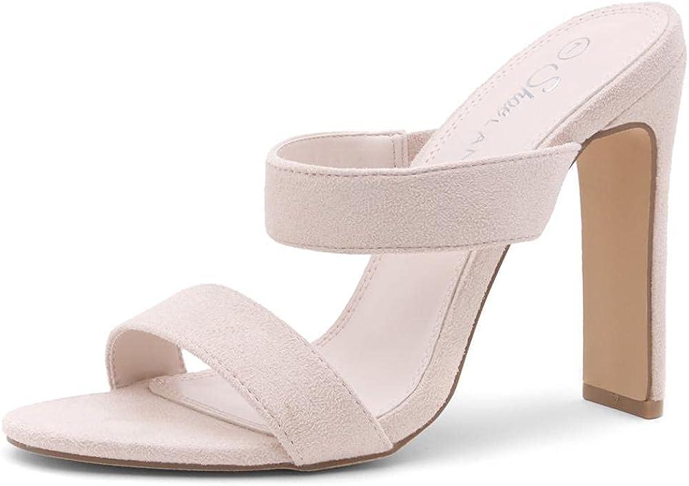 Shoe Land REEGAN Women's Two Strap Open Toe Slip on High Heeled Mule Slide Sandals