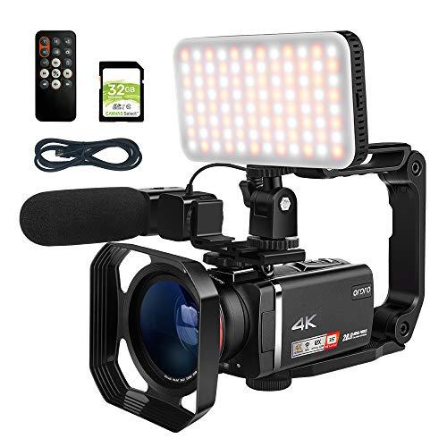 ORDRO AX60 Livestream-Camcorder 4K-Videokamera 12-Fach optisches Zoomobjektiv 3,5-Zoll-IPS-Touchscreen-Videorecorder Live-Broadcast-Camcorder mit USB-Live-Adapterkabel, Mikrofon und LED-Licht