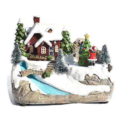 Zebery, casetta natalizia con luci a LED, con albero rotante