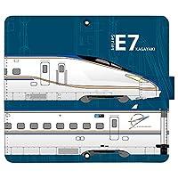 iPhone8 ケース [デザイン:6.E7系かがやき-navy/マグネットハンドあり] 新幹線 JR東日本 手帳型 スマホケース カバー アイフォン iphone8