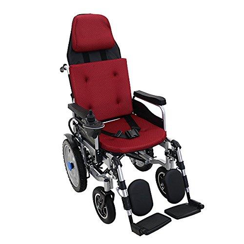 フルリクライニング電動車椅子 赤 TAISコード取得済 折りたたみ ノーパンクタイヤ 自走介助兼用 リクライニング電動車椅子 電動 手動 充電 電動ユニット 電動アシスト 電動カート 折り畳み 車椅子 車イス 車いす リクライニング 介護 福祉 電動車いす