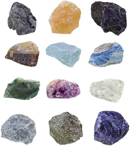 Mineralien Rohsteine Edelsteine Sammlung 12 Stück Set.6 z.B. Smaragd, Orangencalcit, Amazonit uva.