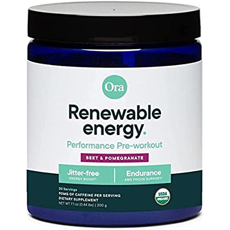 Ora Organic Natural Pre Workout Powder- Pomegranate Flavor- Vegan Certified Organic, Soy-Free, Dairy-Free, Gluten-Free, Provides Jitter-Free Energy Boost for Women & Men, 20 Servings