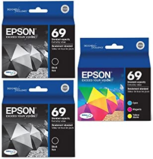 Genuine Epson 69 DURABrite Ultra Color (Black/Cyan/Magenta/Yellow) Ink Cartridge 5-Pack (Includes 2 T069120 and 1 each of T06922