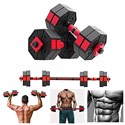 Amazon - Save 80%: 【Ship from USA】 3 in 1 Adjustable Dumbbell Set of 2, 22LB/44 LB/66LB Free…