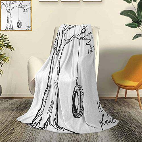 SUZM Tree Modern and Stylish All-Season Bedspread futon Tree-with-a-Tire-Swing-Illustration-Happy-Place-Summer-Childhood-Holidays-Garden Durable Travel Sofa Bed Sofa W60 x L70 Inch Black-White