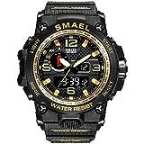 Smael Reloj Militar para Hombre Reloj De Pulsera Impermeable De 50 M Reloj De Cuarzo LED Reloj Deportivo Reloj Deportivo para Hombre (Golden)