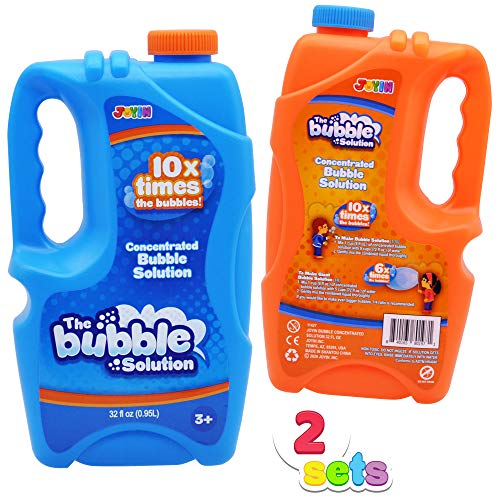 JOYIN 2 x 32 oz Large Bubble Solution Refill (up to 5 Gallon) Big Bubble Solution Concentrated Solution for Bubble Machine, Bubble Gun, Party Favor, Bubble Summer Toy, Easter