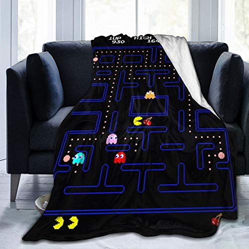 Atsh Pac-Man 3D Printing,Lightweight and Durable,Video Game Throw Blanket, Flannel Blanket Bedding,The Eponymous First Entry was Released in Arcades in 1980 by Namco