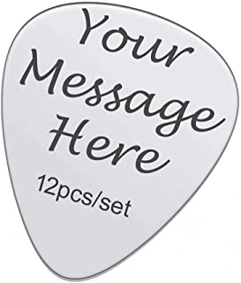 Customized Guitar Picks Personalized Bass Pick Message Stainless Steel Engraved Text Custom Guitar Picks Accessories
