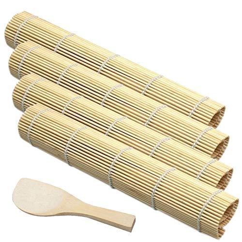 Kit para Hacer Sushi Juego de Sushi Esterilla de Bambú para Sushi Fabricación de Sushi de Bambú Principiante Bricolaje De Bambú Del Balanceo De La Estera Por Sushi Esteras y Utensilios de Sushi 5PCS
