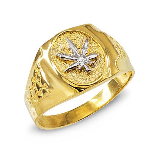 Pequeños Tesoros - Anillos Hombres Alianza De Boda 10 KT Oro 471/1000 Oro Hoja De Marihuana