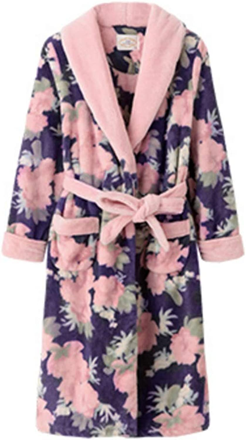 NAN Liang 100% Cotton bathrobe, Nightgown Pajamas, Ladies Autumn and Winter LongSleeved Pajamas Soft (Size   M)