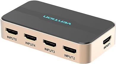 HDMI Splitter. Vention HDMI Switch 5x1 Ports HDMI Switcher 5 in 1 Out HDMI Splitter Switcher 4K2K 1080P 3D IR Remote Control for PS3 Xbox 360 Sky Box DVD HDTV Projector etc
