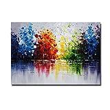 Shouli - Pinturas acrílicas pintadas a mano sobre lienzo preestirado para colgar directamente en la pared, madera, Hand Painted(27.5x39.3inch)