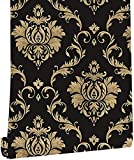 Black Gold Damask Wall Paper 17.7 Inch x 32.8 FT Self Adhesive Peel & Stick Wallpaper for Kitchen Countertop Cabinet Furniture Bedroom Decor
