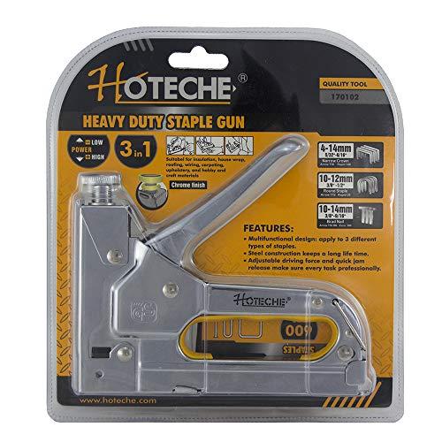 Hoteche 170102 Grapadora Manual 3 En 1, Cromado, 16 cm
