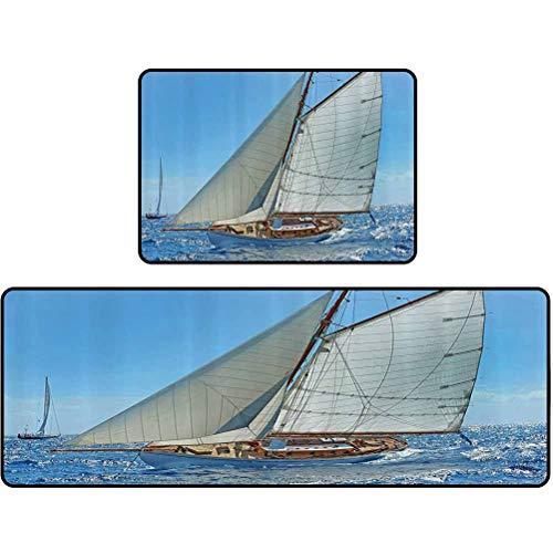 Juego de alfombras de cocina velero en el mar Regatta Race Yacht and Windy Weather Competition T Alfombra de cocina impermeable antideslizante 43 x 121 cm + 43 x 61 cm azul, blanco y marrón