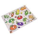 1 Set Madera Puzzle para Niños Pequeños Aprendizaje en Casa Educación Temprana 4 Estilos Formas (Verduras)