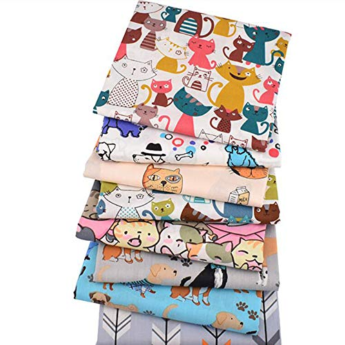 Juego de 8 piezas de tela de sarga de algodón de 40 x 50 cm con estampado de animales y dibujos animados, para realizar patchwork, sábanas y ropa infantil y de bebé