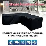 Funda de sofá de esquina Impermeable a prueba de polvo Protector solar duradero Forma de L Cubierta de protección exterior negro for ratán Sofá de esquina Muebles de jardín ( Size : 200*270*82*90cm )