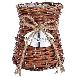 Cabilock Vase en Osier Tissé Fleur Vase Panier Pot Peut Haute Lampadaire en Rotin Fleur De Vase Panier Pays Rustique…