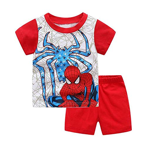 Little Big Boys Pajamas Set 100% Cotton Kids Short Snug Fit Pjs Summer Toddler Sleepwear (RED, 4T)
