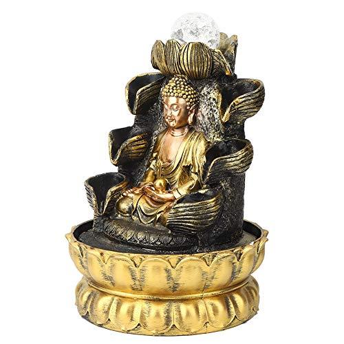 Hapivida Zierbrunnen Zimmerbrunnen mit LED Beleuchtung Mediation großer Buddha Innenbrunnen Desktop Brunnen Ornament Home Decor Buddha Fließendes Wasser Ornament mit Licht und Ball Dekor für Zuhause