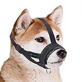 ILEPARK Bozal de Nylon para Perros Pequeños Medianos Grandes, Bozal para Perro Ajustable para Evitar Que Muerda, Mastique y Ladre (S,Negro)