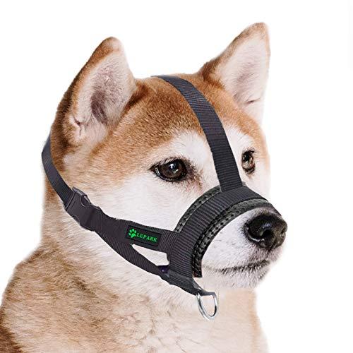 ILEPARK Maulkorb aus Nylon für Kleine,Mittlere und Große Hund, Verstellbare Maulkorb um Hunde vom Beisen, Bellen und Kauen abzuhalten(S,Schwarz)