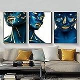 Carteles e Impresiones de Chicas Azules Dorados Maquillaje Mujeres Lienzo Pintura nórdica Pared Arte Imagen Sala de Estar decoración del hogar Mural 40x60cmx3 sin Marco