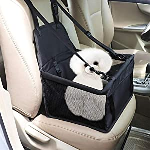 FLY OCEAN Pet Booster Seat, Hollow Mesh Breathable Pet Car Seat with Safety Belt Zipper Storage Bag Luxury Waterproof Dog Chair Fit for Dogs Cats
