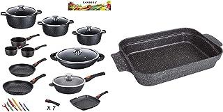 Kamberg - 0008162 - Set Lot Batterie de cuisine 27 pièces & 0008058 - Plat à Lasagnes/Plat à four 36 x 27.5 x 7 cm- Fonte ...