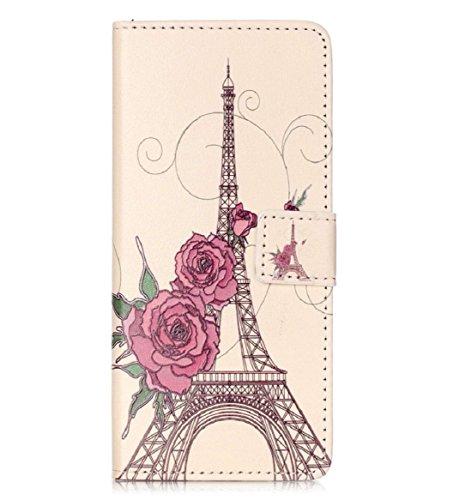 Yistu Muster Flip Card Inhaber Wallet Case Lederbezug für Huawei Ascend P9,Eiffelturm