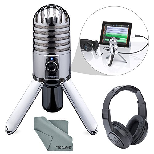 Samson Meteor Mic Studio USB Condenser Microphone and Headphones with...