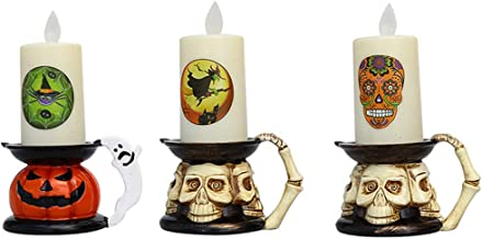 SOLUSTRE 3pcs Halloween Flickering Flameless Candles Realistic LED Candles Plastic Pillar Candle Holder Witch Spider Sugar...