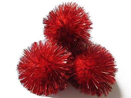 YYCRAFT 15pcs Jumbo Glitter Tinsel Pom Poms Sparkle Balls for DIY Craft,Cat Toys-Red(2')
