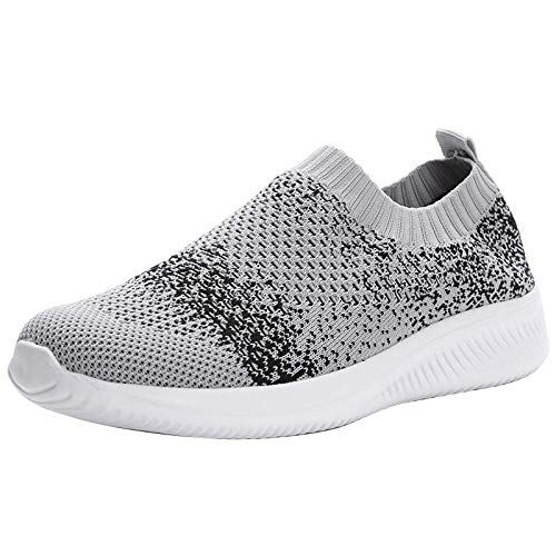 Lazzy Women's Athletic Walking Shoes Slip On Casual Mesh Lightweight Sneakers Breathable Comfortable Work Slip-on RunningTennis Shoes Grey Size 10