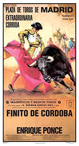 Cartel de toros - Personalizado 24 Carácteres - Plaza de Toros de Madrid - Extraordinaria Corrida - Finito de Cordoba - Enrique Ponce