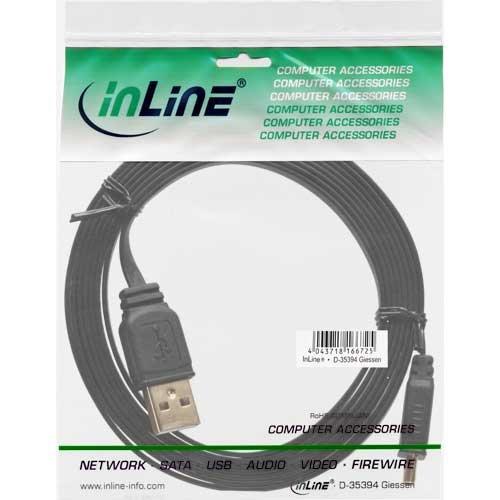 InLine ® Mini-USB 2.0 Flachkabel, USB A Stecker an Mini, 3m