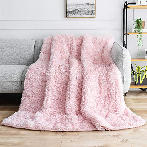 """BUZIO Faux Fur Weighted Blanket 20lbs, Super Soft Plush Fleece and Cozy Sherpa Reverse, Decorative Long Fur Throw Blankets 60""""x80"""" Baby Pink"""