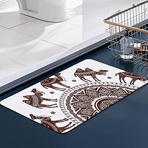 FengYe Carvapet Alfombras Cocina Lavable Antideslizante Patrón con Camellos Decorados Alfombrilla Alfombra de Baño Alfombrillas Cocina 50x80 cm