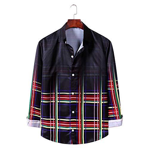 Camisa de Solapa para Hombre, Suelta, de Gran tamaño, a la Moda, Estampado a Cuadros, Color Degradado, Primavera y otoño, Personalidad Informal, Camisa de Manga Larga Large