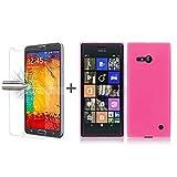 TBOC® Pack: Rosa Gel TPU Hülle + Hartglas Schutzfolie für Nokia Lumia 730 Dual SIM. Ultradünn Flexibel Silikonhülle. Panzerglas Bildschirmschutz in Kristallklar in Premium Qualität.